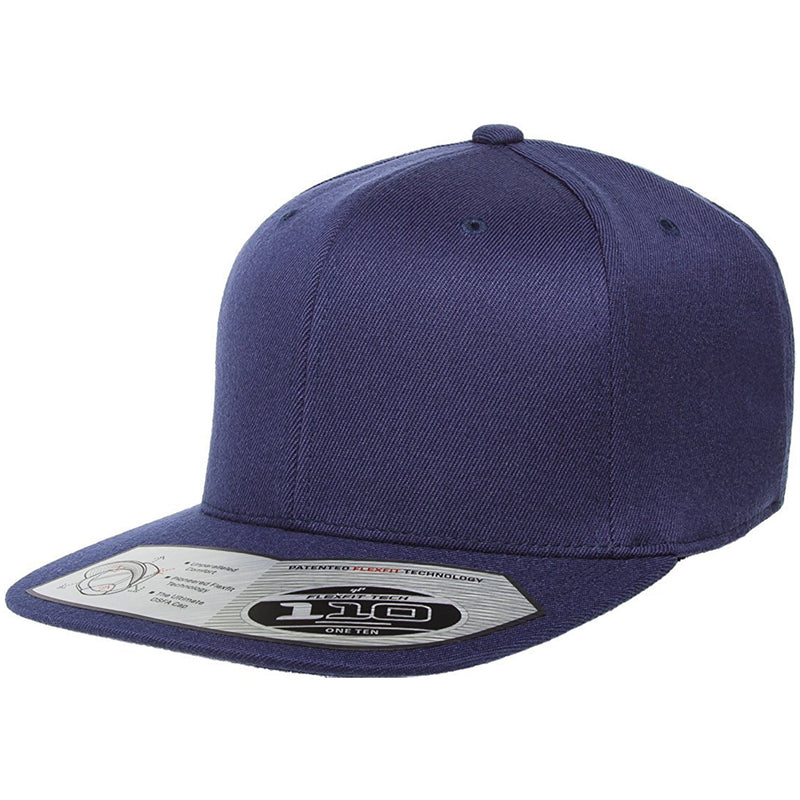 The 110 flexfit snapback is solid navy blue with a high structured crown, flat brim, elastic band, and adjustable snap on the back.