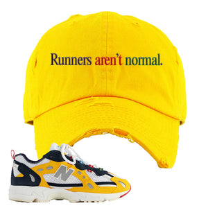 827 Abzorb Multicolor Yellow Aime Leon Dore Sneaker Gold Distressed Dad Hat | Hat to match 827 Abzorb Multicolor Yellow Aime Leon Dore Shoes | Runner's Aren't Normal