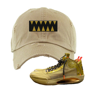 Jordan 34 x Zion Williamson Bayou Boys PE Sneaker Khakie Distressed Dad Hat | Hat to match Air Jordan 34 x Zion Williamson Bayou Boys PE Shoes | The Box Logo