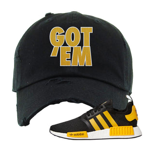 NMD R1 Active Gold Distressed Dad Hat | Black, Got Em