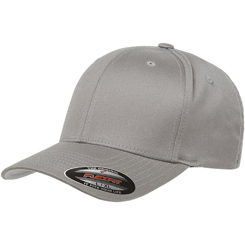 the gray flexfit bent brim stretch fit elastic fit ball cap has a structured crown, bent brim, and is gray