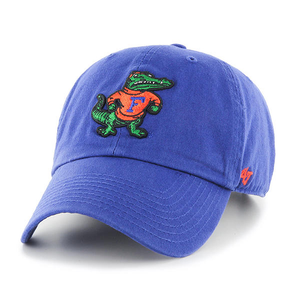 Embroidered on the front of the Florida Gators blue adjustable dad hat is a vintage florida gators logo in orange and green