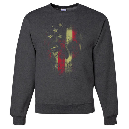 Standard Issue Distressed Reaper Skull American Flag Gray Grunt Life Crewneck Sweater