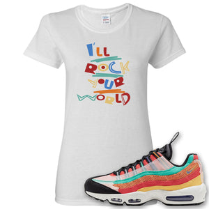 Air Max 95 Black History Month Sneaker White Women's T Shirt | Women's Tees to match Nike Air Max 95 Black History Month Shoes | I'll Rock Your World