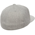 the back of the heather gray flexfit stretch fit elastic fit fitted hat is closed, there is an elastic sweatband inside the hat that allows it to stretch