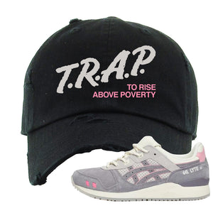 END x Asics Gel-Lyte III Grey And Pink Distressed Dad Hat | Trap To Rise Above Poverty, Black