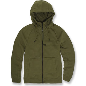 the olive jordan craig fleece top zip up is solid olive green with a black zipper