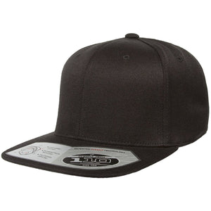 The 110 flexfit snapback is solid black with a high structured crown, flat brim, elastic band, and adjustable snap on the back.