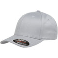 the light gray flexfit bent brim stretch fit elastic fit ball cap has a structured crown, bent brim, and is light gray