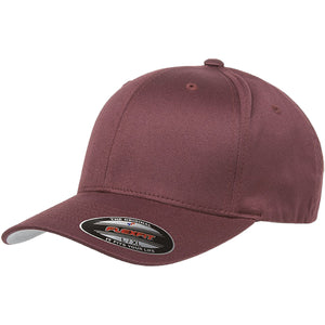 the maroon flexfit bent brim stretch fit elastic fit ball cap has a structured crown, bent brim, and is maroon