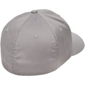 the back of the light gray flexfit stretch fit elastic fit ball cap is closed, there is an elastic sweatband inside the hat that allows it to stretch