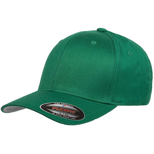 the green flexfit bent brim stretch fit elastic fit ball cap has a structured crown, bent brim, and is green
