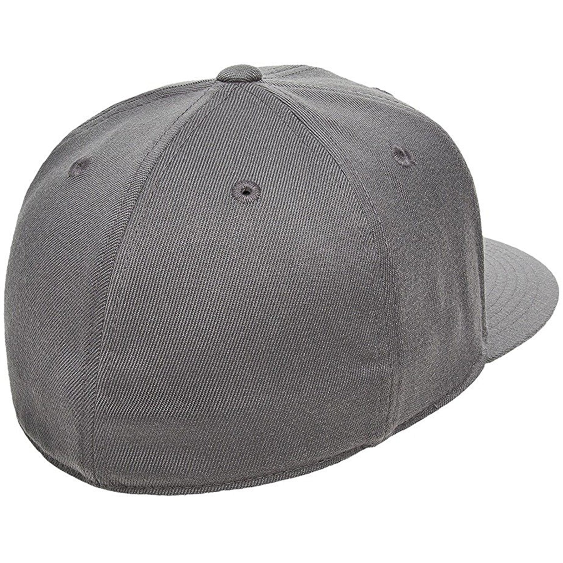 c0cff26241a5a ... flat brim stretch fit elastic fit fitted hat has a structured crown  the  back of the dark gray flexfit stretch fit elastic fit fitted hat is closed