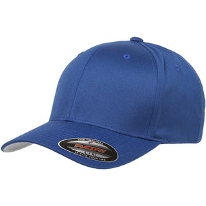 the blue flexfit bent brim stretch fit elastic fit ball cap has a structured crown, bent brim, and is blue