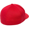 the back of the red flexfit stretch fit elastic fit ball cap is closed, there is an elastic sweatband inside the hat that allows it to stretch