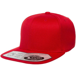 The 110 flexfit snapback is solid red with a high structured crown, flat brim, elastic band, and adjustable snap on the back.
