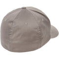 the back of the gray flexfit stretch fit elastic fit ball cap is closed, there is an elastic sweatband inside the hat that allows it to stretch