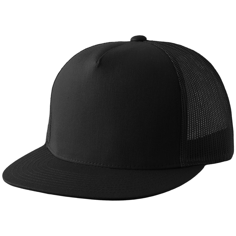 the blank black trucker snapback hat has a black crown and black mesh