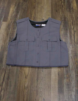 on the front of the Police Public Safety | Armorskin Class B Style Ballistic Vest Cover | Gray Cover for Ballistic Armor is two patch pockets and the nylon performance lining