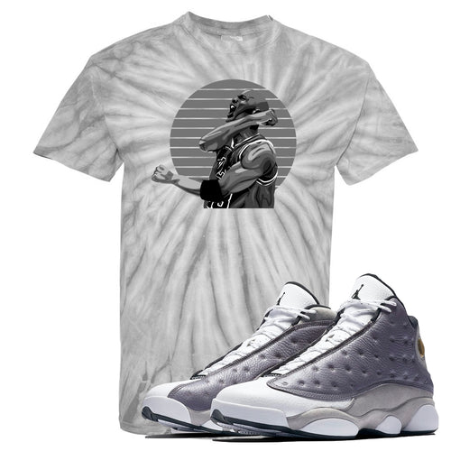Jordan 13 Atmosphere Grey Jordan Scream Tie Dye Light Gray Shirt