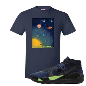 KD 13 Planet of Hoops T Shirt | Vintage Space Poster, Navy