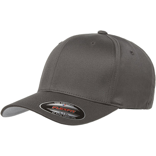 the dark gray flexfit bent brim stretch fit elastic fit ball cap has a structured crown, bent brim, and is dark gray