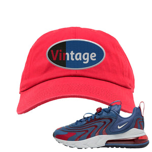 Air Max 270 React ENG Mystic Navy Dad Hat | Vintage Oval, Red