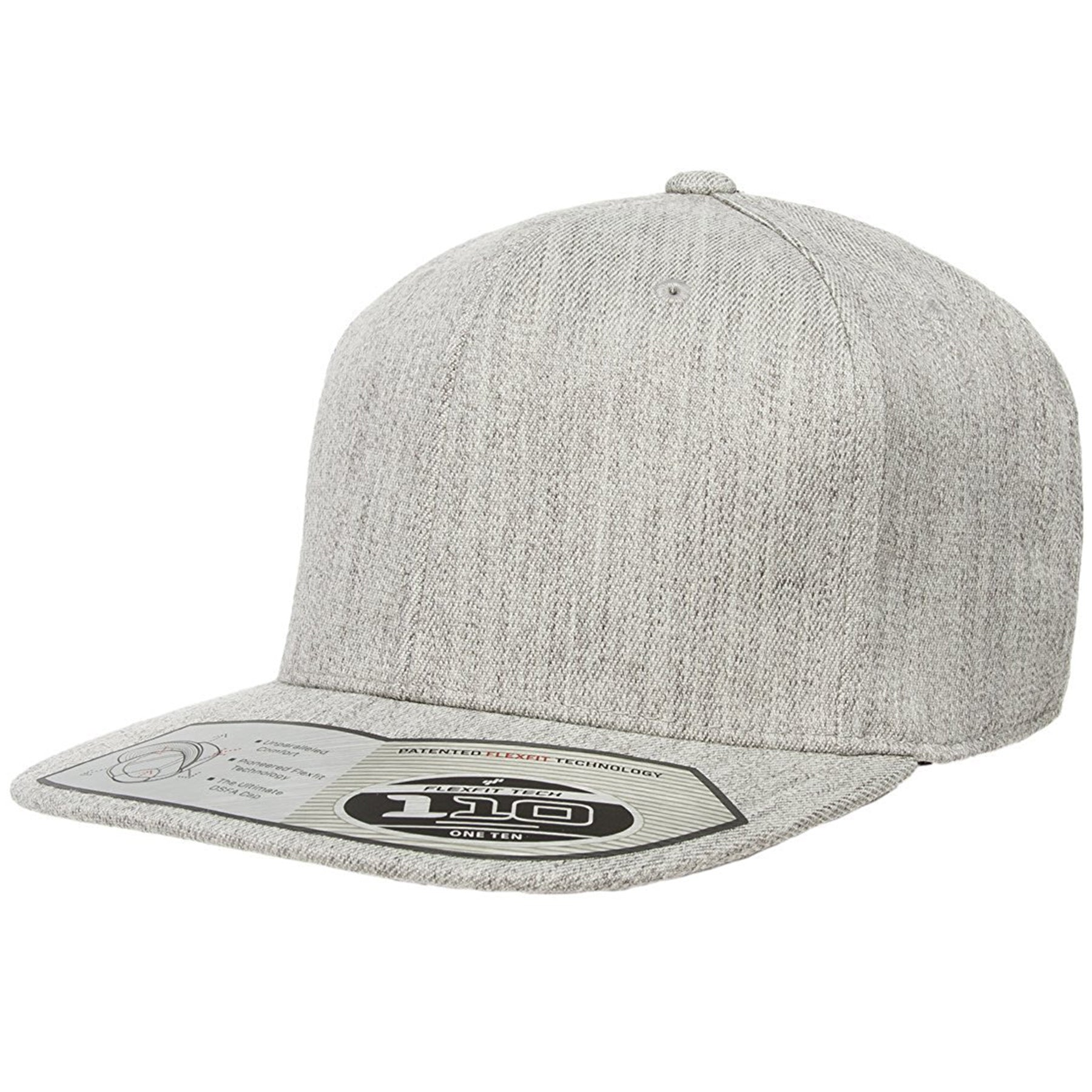 9b8ed788 The 110 flexfit snapback is solid heather with a high structured crown,  flat brim,
