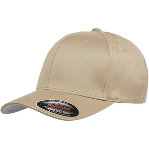 the khaki flexfit bent brim stretch fit elastic fit ball cap has a structured crown, bent brim, and is khaki
