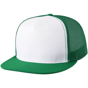 the white on green blank trucker hat has a white crown, green brim, and green mesh
