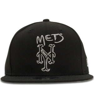 Embroidered on the front of the New York Mets Scribble Logo is the New York Mets logo in a scribble style in white thread