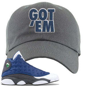 Jordan 13 Flint 2020 Sneaker Dark Gray Dad Hat | Hat to match Nike Air Jordan 13 Flint 2020 Shoes | Got Em
