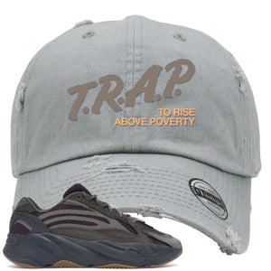 Yeezy Boost 700 Geode Sneaker Hook Up Trap Rise Above Light Gray Distressed Dad Hat