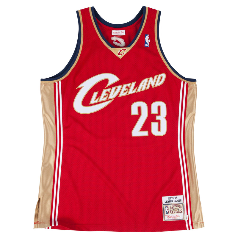 the maroon vintage lebron james jersey is maroon with a gold and white accents. The cleveland wordmark is in white and gold and the number 23 is also in white and gold