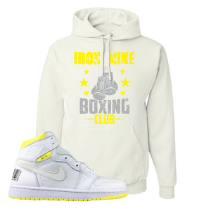 Jordan 1 First Class Flight Iron Mike Boxing Club Sneaker Matching White Pullover Hoodie