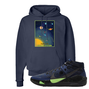 KD 13 Planet of Hoops Hoodie | Vintage Space Poster, Navy