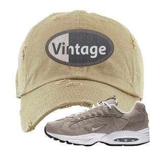Air Max Triax 96 Grey Suede Distressed Dad Hat | Vintage Oval, Khaki