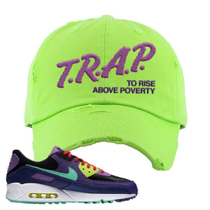 Air Max 90 Cheetah Distressed Dad Hat | Trap To Rise Above Poverty, Neon Green