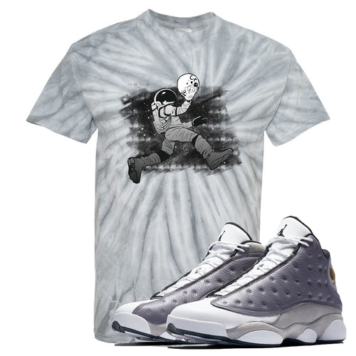 Jordan 13 Atmosphere Grey Astronaut Jump Tie Dye Light Gray Shirt