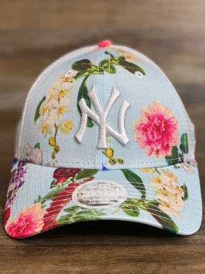 Front of Floral New York Yankees women's Mesh trucker hat | Mesh back trucker flower snapback hat