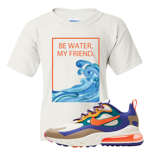 Air Max 270 React ACG Kid's T-Shirt | White, Be Water My Friend Wave
