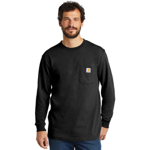 On the left chest of the longsleeve black Carhartt t-shirt is a pocket with the Carhartt logo