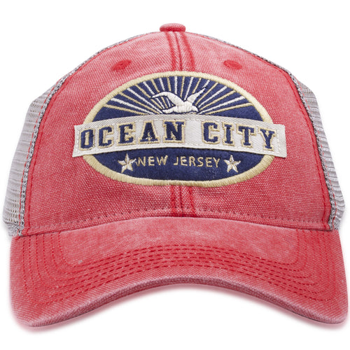 Ocean City, New Jersey Seagull Sunset Mesh-back Trucker Hat