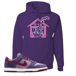 Dunk Low Plum Sneaker Deep Purple Pullover Hoodie | Hoodie to match Nike Dunk Low Plum Shoes | Trap House 24/7