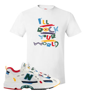 Aime Leon Dore X New Balance 827 Abzorb Multicolor 'White' T Shirt | White, I'll Rock Your World