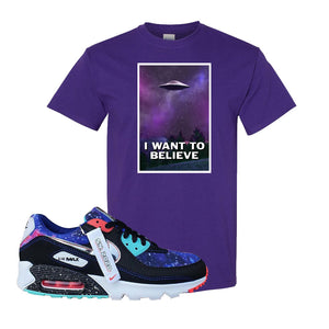 Air Max 90 Galaxy T Shirt | Purple, I Want to Believe