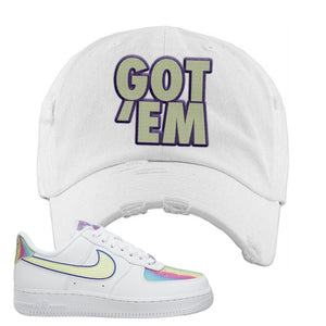 Air Force 1 Low Easter Distressed Dad Hat | White, Got Em