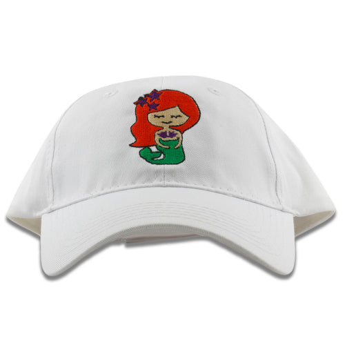 Embroidered on the front of the red hair mermaid white kids dad hat is the mermaid logo