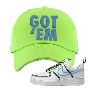 Air Force 1 '07 PRM 'Worldwide Pack' Distressed Dad Hat | Neon Green, Got Em