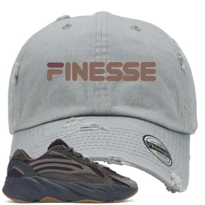 Yeezy Boost 700 Geode Sneaker Hook Up Finesse Light Gray Distressed Dad Hat